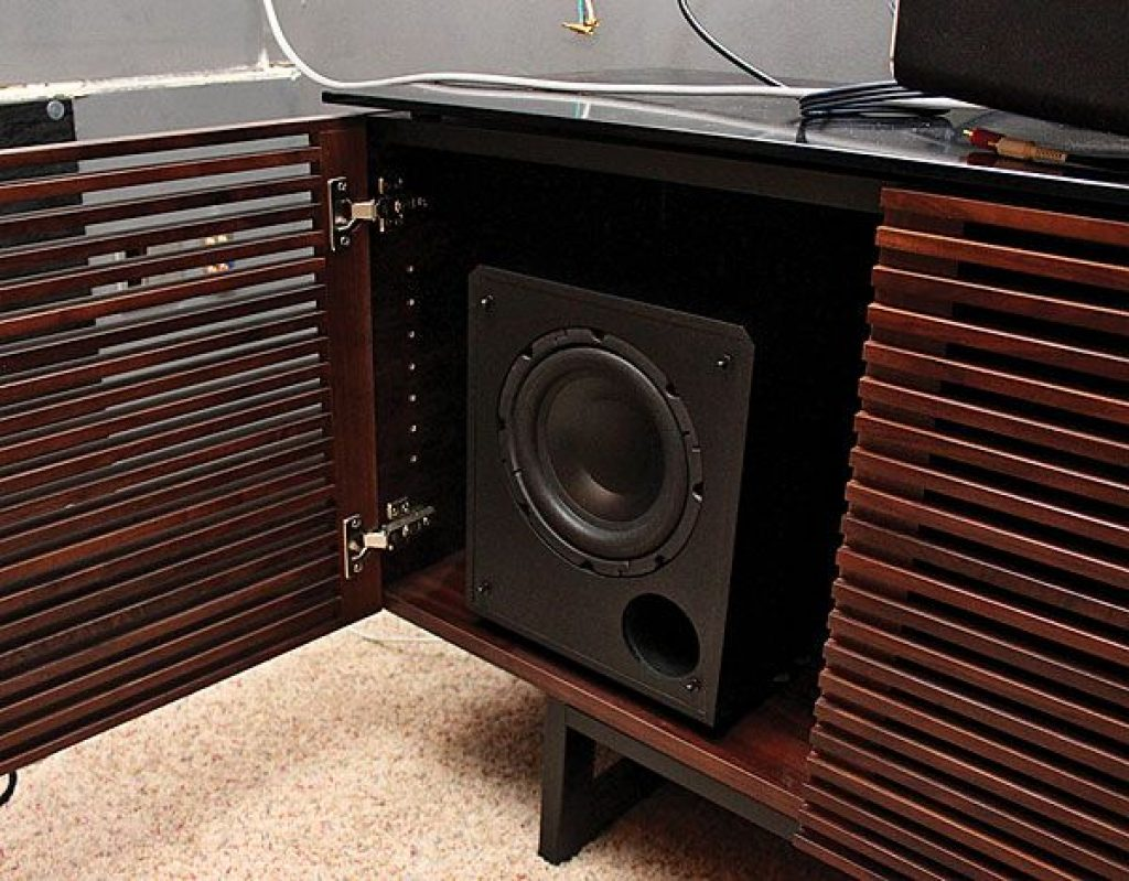 subwoofer in cabinet